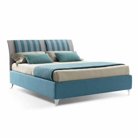 Luxury Double Bed with Box in Two-Tone Fabric Made in Italy - Gagia