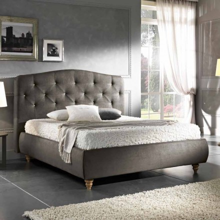 Padded double bed with storage box 160x190 / 200cm Leone