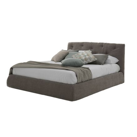 Upholstered Double Bed with Box in Faux Leather or Made in Italy Fabric - Hake
