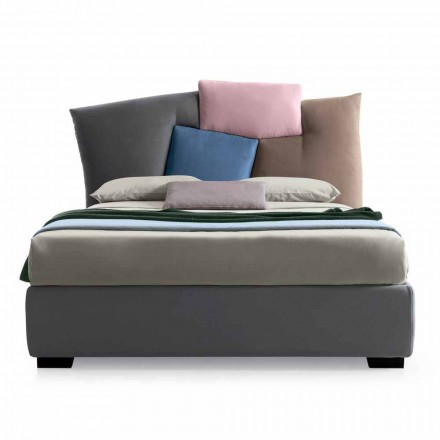 Upholstered Double Bed with Fabric Storage - Belle
