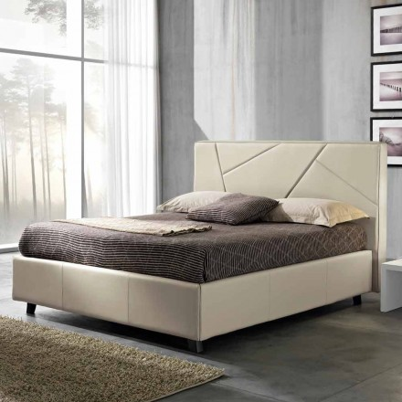 Imitation leather double bed with lift box 160x190 / 200 cm Mia