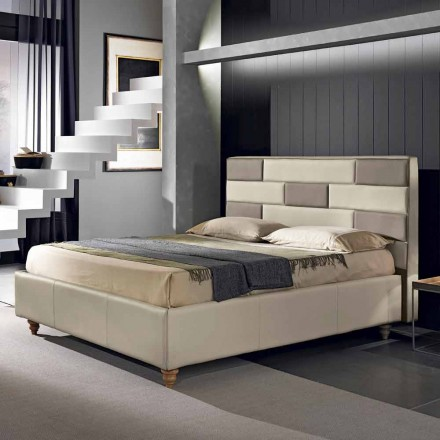 Imitation leather double bed with storage box 160x190 / 200 cm Gin