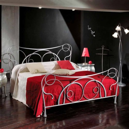 Italian wrought iron double bed Zoe, handmade in Italy