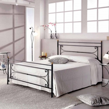 Italian wrought iron double bed Evelyn, classic design