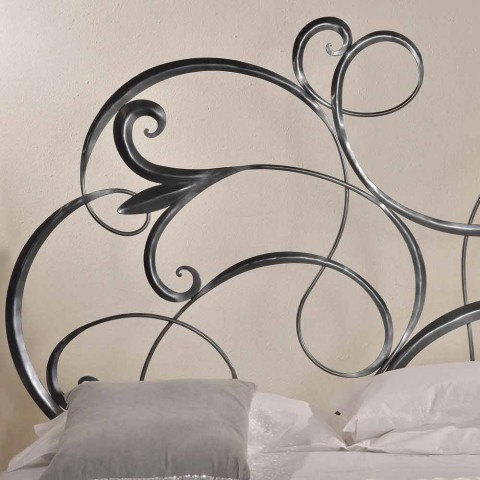iron double bed with headboard in Allison forged blade