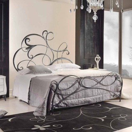 Classic design iron double bed Allison, handmade in Italy