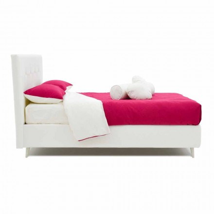 Double bed upholstered in leatherette with Swarovski Made in Italy - Perzio