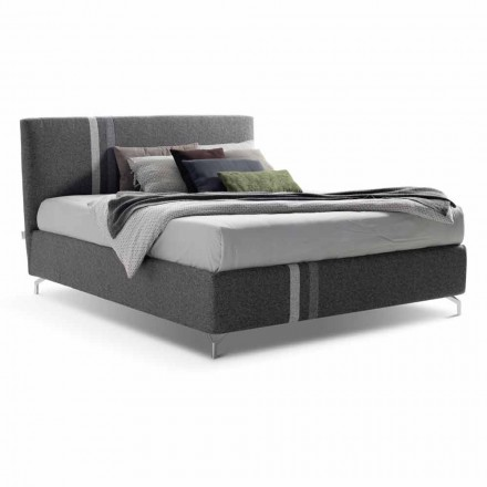 Fabric double bed with container Made in Italy - Paolo