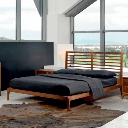 Modern design bed Didimo, solid walnut bed structure, made in Italy