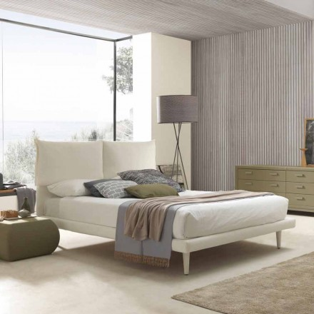 Modern double bed, with thin base and without box, Iorca by Bolzan
