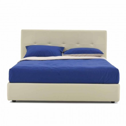 Double Bed Padded and Covered in Imitation Leather Made in Italy - Patos