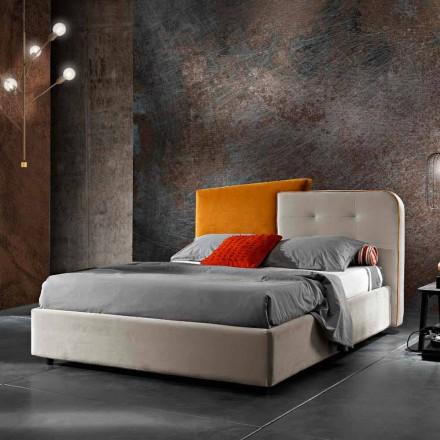 Modern Design Double Bed in Gray and Orange Velvet - Plorifon