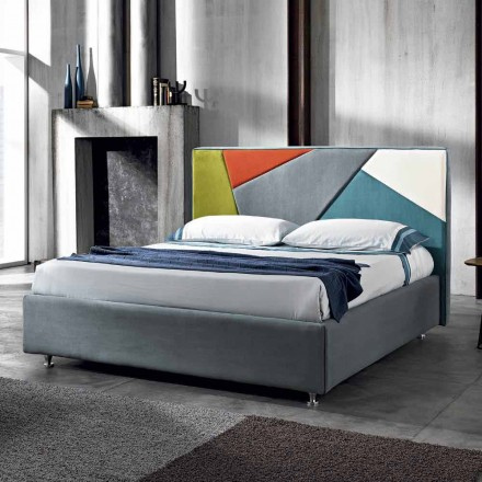 Modern padded double bed with lift box 160x190 / 200cm Mia