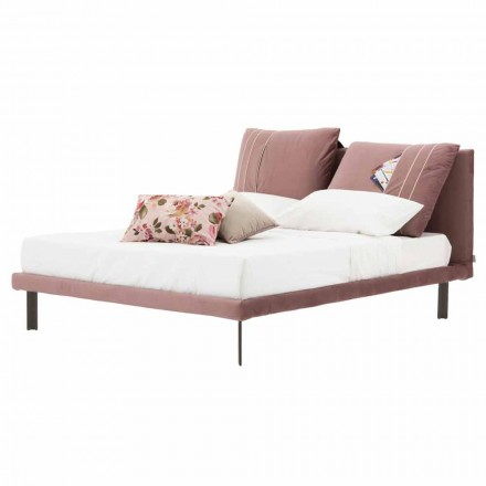 Double Bed Covered in Removable Fabric Made in Italy - Tevio