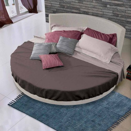Round Double Bed of Design Covered in Tissue, Made in Italy - Rello