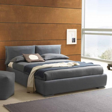 Double bed without box, contemporary design, Iorca by Bolzan