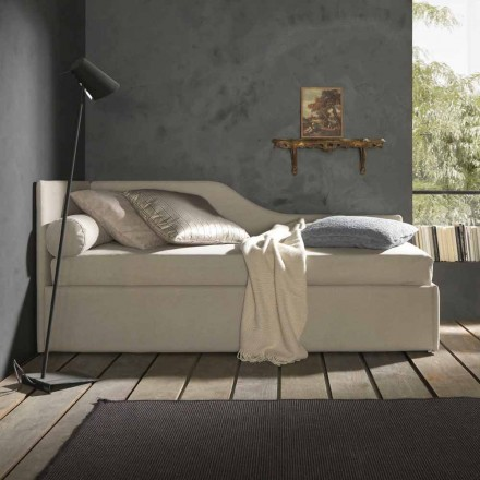 Single bed with shaped headboard and side panel, Line 8 Bolzan