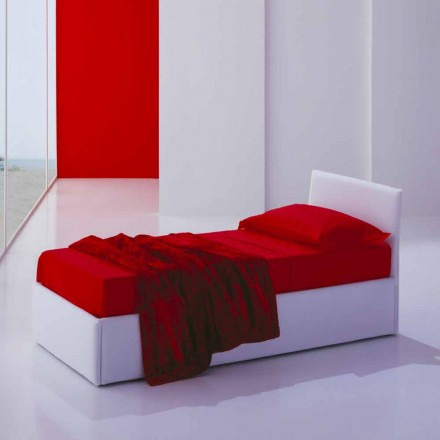 Single bed with headboard, structure in iron and wood Line by Bolzan