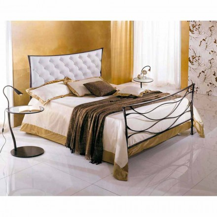 Wrought-iron single bed Idra Capitonné