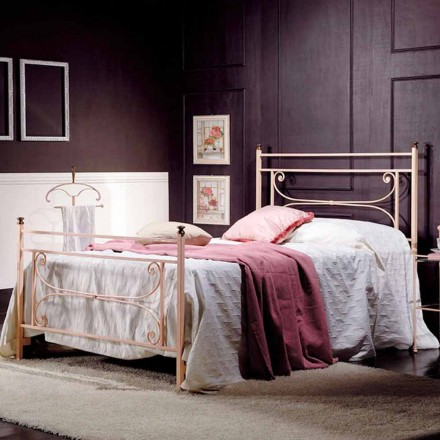Italian wrought iron small double bed Claudia, classic design