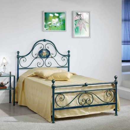 Wrought iron small double bed Gloria, classic design,handmade in Italy