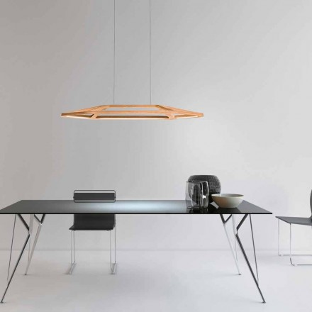 Leucos Aki S designer LED pendant lamp made of wood and polycarbonate