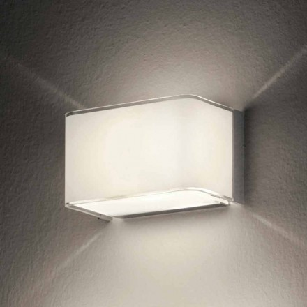 Leucos Block LED wall sconce made of silk-screen printed white glass