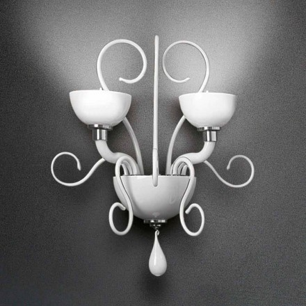 Leucos Bolero wall sconce with 2 lights in blown glass, handcrafted