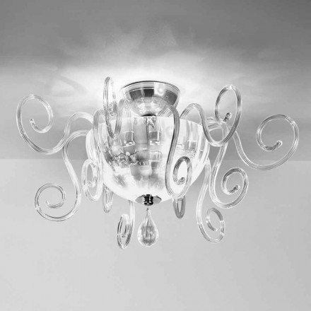 Leucos Bolero PL handcrafted ceiling lamp made of blown glass