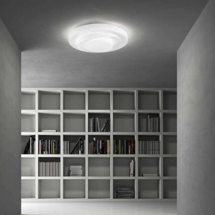 Leucos Loop Line LED ceiling light made of satin white glass