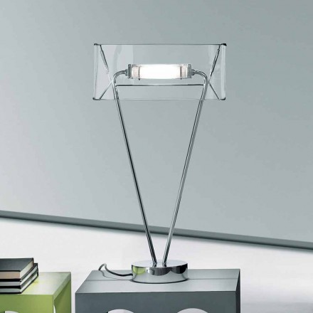 Leucos Vittoria T modern design table lamp in crystal blown glass