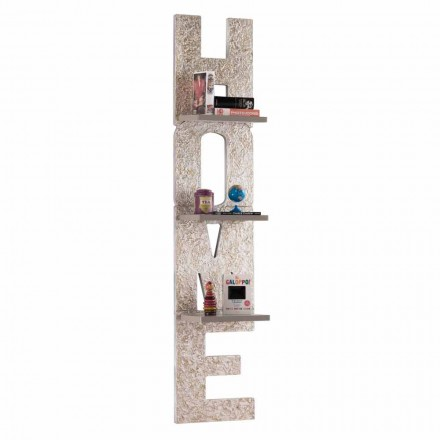 Wall-mounted bookcase Olga, 3 shelves, modern design made in Italy