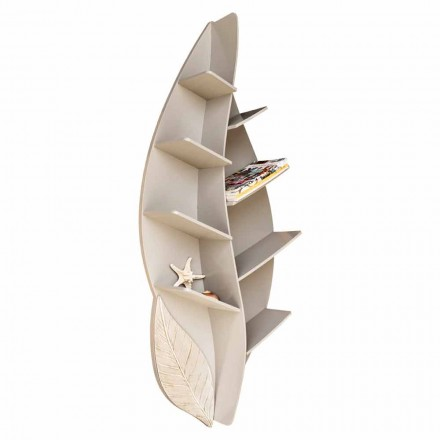 8-shelf wall bookcase Orietta, handmade and hand-decorated in Italy