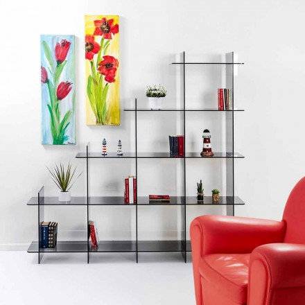 Modern wall-fixed bookcase Sfera3, fumé finish,  L180 x H180 x P30 cm