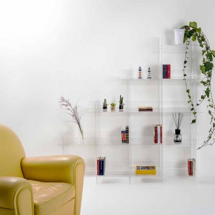 Wall-fixed bookcase Sfera3, transparent finish,  L180 x H180 x P30 cm