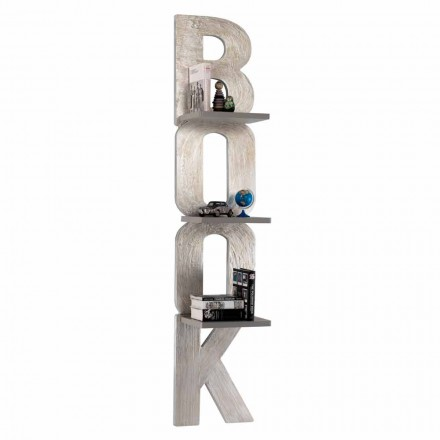 Wall-mounted bookcase Nicla, 3 shelves, modern design made in Italy