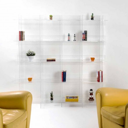 Modern design wall mounted bookcase Pam, transparent finish