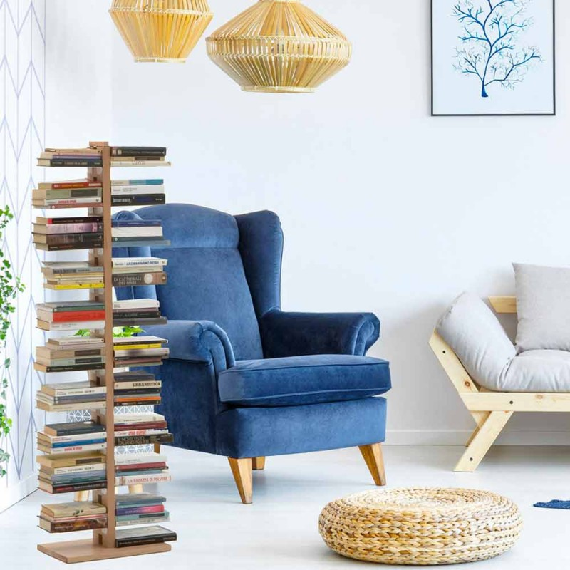 Zia Bice modern column bookcase made of wood made in Italy