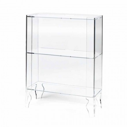 Modern design bookcase Lexa, made of clear methacrylate, 8 mm thick