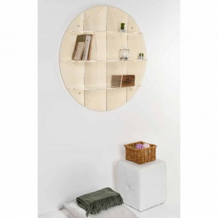 Beige wall mounted bookcase Gio with a modern design, made in Italy