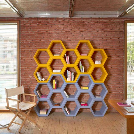 Colored wall bookcase with cells Slide Hexa, produced in Italy