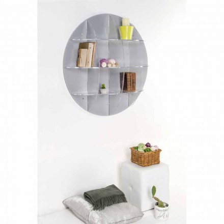 Grey wall mounted bookcase Gio with a modern design, made in Italy