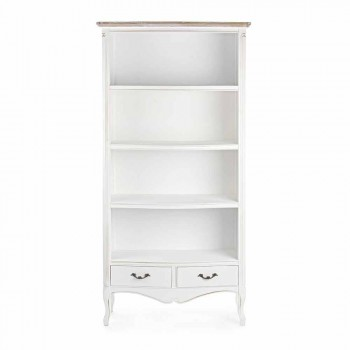 Classic Floor Bookcase in Wood with Metal Handles Homemotion - Spina