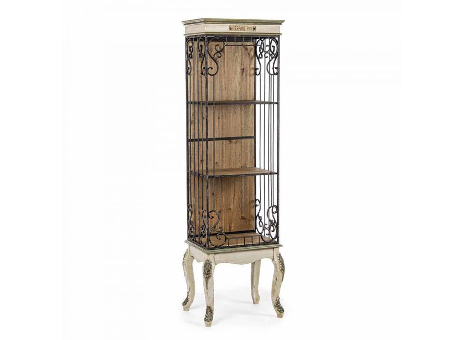 Classic Design Floor Bookcase in Wood and Steel Homemotion - Verena