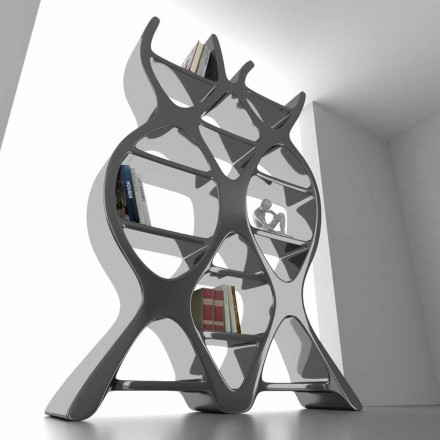 Modern design free-standing bookcase DNA, made in Italy