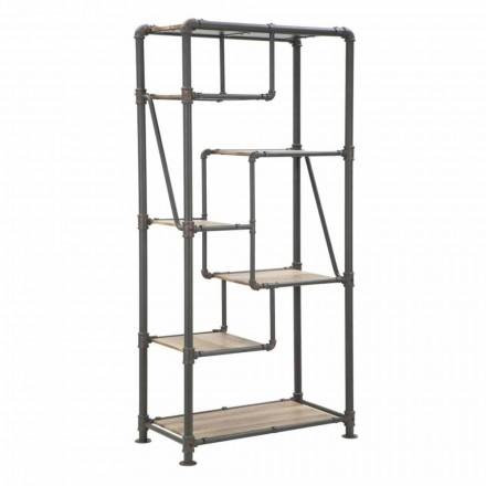 Modern Design Floor Bookcase in MDF and Metal - Merve