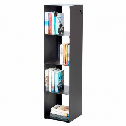 Modern Floor Bookcase in Black, Red, White, Gray Iron Made in Italy - Cauro