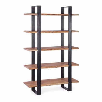 Homemotion Modern Steel Floor Bookcase with Wooden Shelves - Lanza