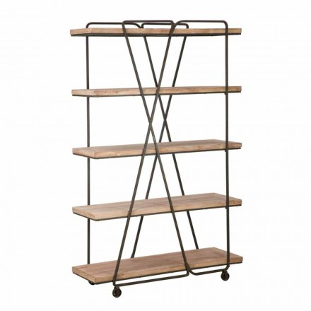 Industrial Style Design Floor Bookcase in Wood and Iron - Soline