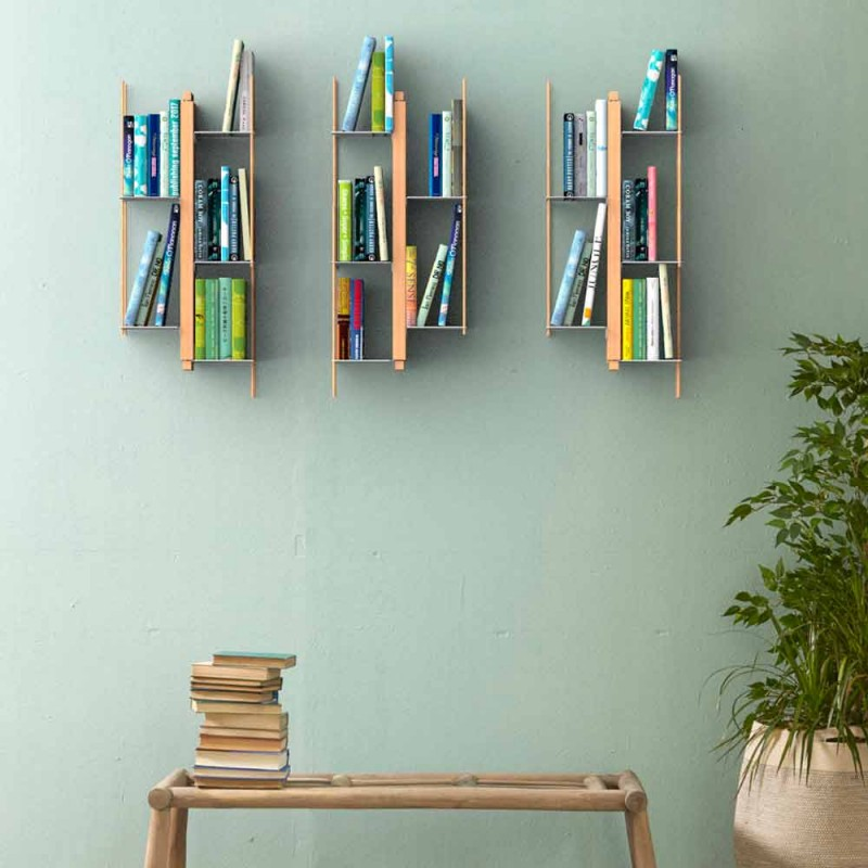 Zia Veronica wall-mounted design bookcase, solid wood handmade